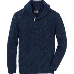 Sweter w warkocze z bawełny z recyclingu bonprix ciemnoniebieski. Niebieskie swetry przez głowę męskie bonprix, z bawełny. Za 109.99 zł.