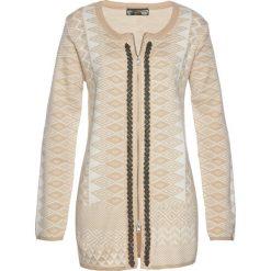 Długi sweter rozpinany bonprix cielisto-biały. Brązowe kardigany damskie bonprix, z żakardem. Za 109.99 zł.