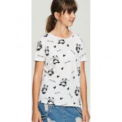 T-shirt w pandy - Biały. Białe t-shirty damskie Sinsay. Za 24.99 zł.