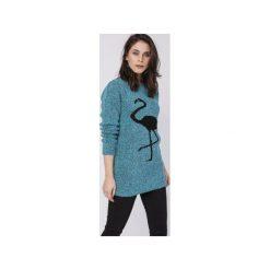 Sweter z flamingiem, SWE131 turkus MKM. Zielone swetry damskie Mkm swetry, z dzianiny. Za 138.00 zł.
