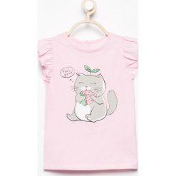 T-shirt z falbankami - Różowy. T-shirty damskie marki bonprix. W wyprzedaży za 9.99 zł.