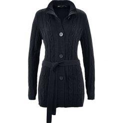 Długi sweter rozpinany bonprix czarny. Kardigany damskie marki bonprix. Za 109.99 zł.