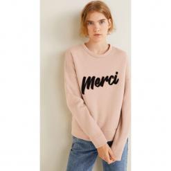 Mango - Bluza Merci. Różowe bluzy damskie Mango, z nadrukiem, z bawełny. Za 119.90 zł.
