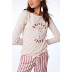 Etam - Bluzka piżamowa 650156970. Szare koszule nocne damskie Etam, z nadrukiem, z bawełny. Za 89.90 zł.