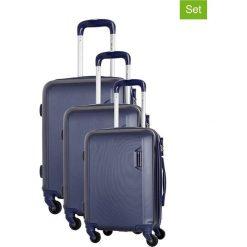 Zestaw walizek w kolorze niebieskim - 3 szt. Walizki męskie Platinium, z materiału. W wyprzedaży za 579.95 zł.