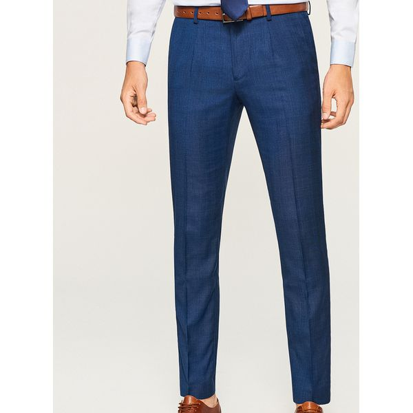 d0fba6bd995cd Spodnie garniturowe w kratę - Granatowy - Eleganckie spodnie męskie ...