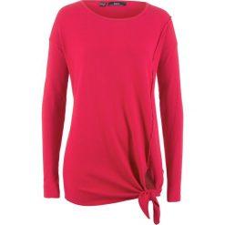 Sweter z dzianiny o gładkim splocie z przewiązaniem bonprix czerwony. Swetry damskie marki bonprix. Za 49.99 zł.