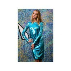 Sukienka Malediva. Niebieskie sukienki damskie Fevey, z dzianiny, z długim rękawem. Za 255.00 zł.