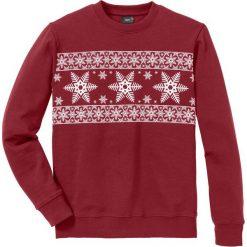 Bluza Regular Fit bonprix ciemnoczerwono-biały. Czerwone bluzy męskie bonprix, z nadrukiem. Za 74.99 zł.
