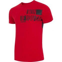 T-shirt męski TSM019 - ciemna czerwień. Czerwone t-shirty męskie 4f, na lato, z nadrukiem, z bawełny. W wyprzedaży za 49.99 zł.