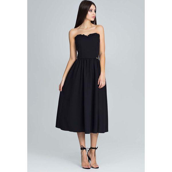 6e899313f7 Czarna Wieczorowa Midi Sukienka Gorsetowa z Falbankami - Sukienki ...