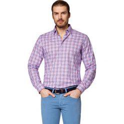 Koszula w Kratę Raphael. Niebieskie koszule męskie LANCERTO, w kratkę, z bawełny, z kontrastowym kołnierzykiem. Za 299.90 zł.