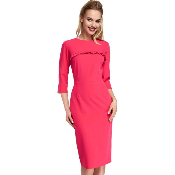291c497b20 Różowe Sukienka Ołówkowa Midi z Falbanką - Sukienki damskie marki ...