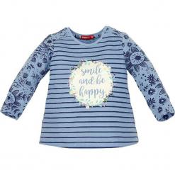 """Koszulka """"Be Happy"""" w kolorze niebieskim. Niebieskie bluzki dla dziewczynek Bondi, z aplikacjami, z okrągłym kołnierzem, z długim rękawem. W wyprzedaży za 45.95 zł."""