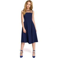 Rozkloszowana sukienka  moe271. Niebieskie sukienki damskie MOE, z tiulu, eleganckie, z klasycznym kołnierzykiem, bez rękawów. Za 149.90 zł.