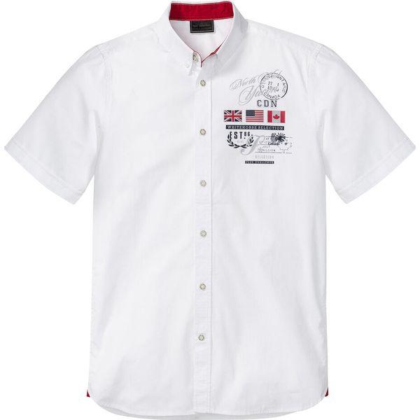 Koszula z krótkim rękawem i nadrukiem bonprix biały z  APHgX