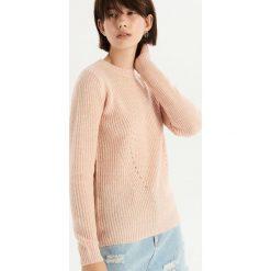 Sweter z ażurowym zdobieniem - Kremowy. Białe swetry damskie Sinsay. Za 49.99 zł.