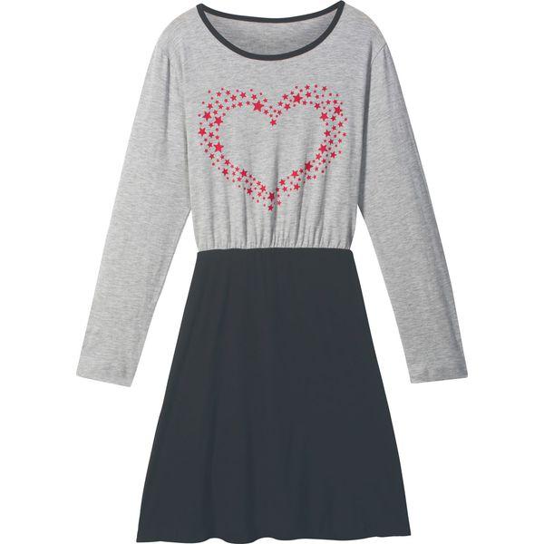 c1ddae6743 Sukienka dziewczęca z długim rękawem bonprix jasnoszary melanż ...