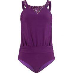 Kostium kąpielowy bonprix jeżynowy. Fioletowe kostiumy jednoczęściowe damskie bonprix, w kolorowe wzory. Za 129.99 zł.