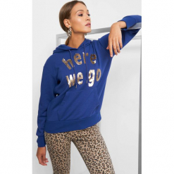 Bluza z napisem z cekinów. Fioletowe bluzy damskie Orsay, z napisami, z bawełny. Za 89.99 zł.