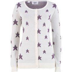 Sweter rozpinany w gwiazdy bonprix biel wełny - matowy lila. Kardigany damskie marki KALENJI. Za 37.99 zł.