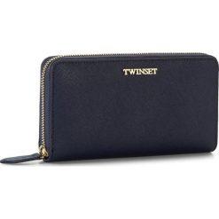 Duży Portfel Damski TWINSET - Portafoglio AA7PDY Blue/Black 00894. Niebieskie portfele damskie Twinset, ze skóry. W wyprzedaży za 359.00 zł.