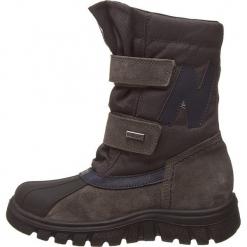 """Kozaki """"Himan"""" w kolorze antracytowym. Szare buty zimowe chłopięce Naturino, z materiału. W wyprzedaży za 215.95 zł."""