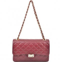 Skórzana torebka w kolorze czerwonym - (S)27,5 x (W)18 x (G)9 cm. Czerwone torby na ramię damskie Akcesoria na sylwestrową noc. W wyprzedaży za 279.95 zł.