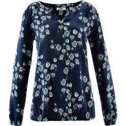 Szeroka bluzka, długi rękaw bonprix ciemnoniebieski z nadrukiem. Niebieskie bluzki damskie bonprix, z nadrukiem, z długim rękawem. Za 74.99 zł.