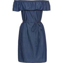 """Sukienka z dekoltem """"carmen"""" i falbaną bonprix niebieski. Niebieskie sukienki damskie bonprix, z kołnierzem typu carmen. Za 89.99 zł."""