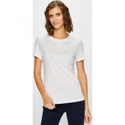 Guess Jeans - Top. Szare topy damskie Guess Jeans, z aplikacjami, z bawełny, z krótkim rękawem. Za 189.90 zł.