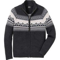 Sweter rozpinany Regular Fit bonprix antracytowy melanż. Szare kardigany męskie bonprix, melanż. Za 99.99 zł.