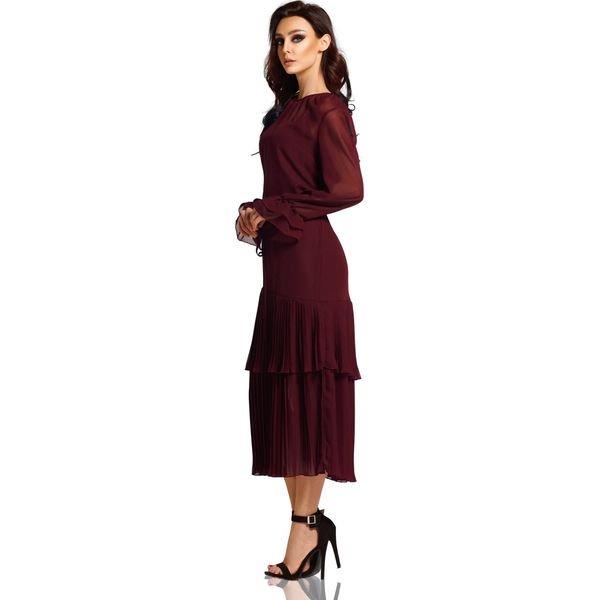 Sukienka w stylu boho midi L294 burgund