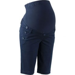 Szorty ciążowe z guzikami bonprix ciemnoniebieski. Niebieskie szorty damskie bonprix, z dżerseju. Za 99.99 zł.