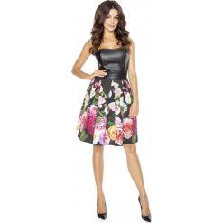 Sukienka w Kwiaty ze Skórzanym Gorsetem. Czarne sukienki damskie Molly.pl, w kwiaty, ze skóry, wizytowe, z gorsetem. Za 278.90 zł.