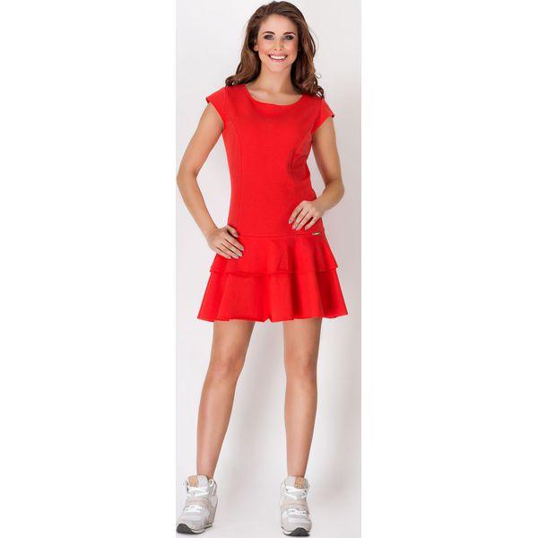 ede5690bcfe7 Czerwona Skromna Letnia Sukienka z Falbankami na Dole - Sukienki ...