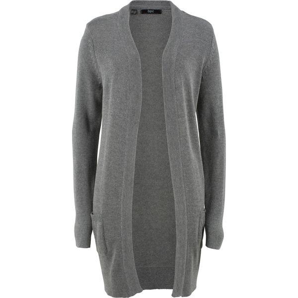 5715e627e7072a Długi sweter dzianinowy bez zapięcia, długi rękaw bonprix szary ...