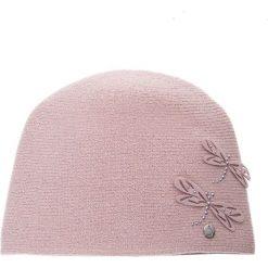 Różowa czapka z filcowymi ważkami QUIOSQUE. Czerwone czapki i kapelusze damskie QUIOSQUE, z dzianiny. W wyprzedaży za 79.99 zł.