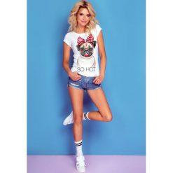 Bluzka t-shirt buldog k120. Białe t-shirty damskie Knitis, z nadrukiem, z dzianiny, z klasycznym kołnierzykiem. Za 69.00 zł.