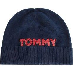 Czapka TOMMY HILFIGER - Patch Knit Bea AW0AW06184 413. Niebieskie czapki i kapelusze damskie Tommy Hilfiger, z bawełny. Za 179.00 zł.