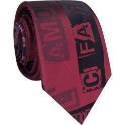 Krawat jedwabny KWAR009005. Czerwone krawaty i muchy Giacomo Conti, z nadrukiem, z jedwabiu. Za 169.00 zł.