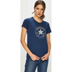 Converse - T-shirt. Szare t-shirty damskie Converse, z nadrukiem, z bawełny, z okrągłym kołnierzem. Za 129.90 zł.
