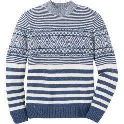 Sweter wzorzysty Regular Fit bonprix indygo-biel wełny. Niebieskie swetry przez głowę męskie bonprix, z wełny. Za 129.99 zł.