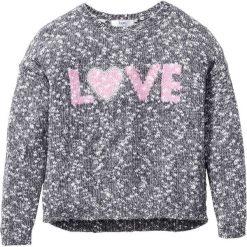 Sweter dzianinowy melanżowy bonprix antracytowo-biel wełny melanż. Swetry dla dziewczynek bonprix, z dzianiny. Za 59.99 zł.