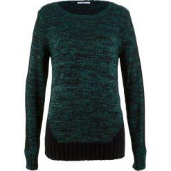 Sweter, długi rękaw bonprix głęboki zielony melanż. Zielone swetry damskie bonprix, z kontrastowym kołnierzykiem. Za 109.99 zł.