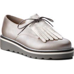 Oxfordy TOMMY HILFIGER - Pearlized Leather Lace Up Shoe FW0FW02937 Moonbeam 009. Szare półbuty damskie Tommy Hilfiger, ze skóry ekologicznej. W wyprzedaży za 479.00 zł.