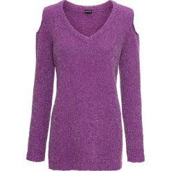 Sweter z szenili z nitką lureksową bonprix fiołkowo-srebrny. Fioletowe swetry damskie bonprix. Za 74.99 zł.