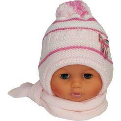 Czapka niemowlęca z szalikiem CZ+S 154B różowa. Czapki dla dzieci marki Reserved. Za 38.76 zł.