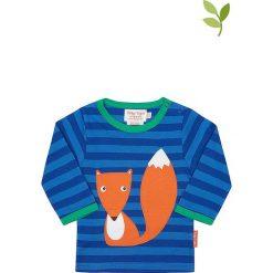 Koszulka w kolorze niebieskim. Niebieskie bluzki dla dziewczynek Toby Tiger, z aplikacjami, z bawełny, z okrągłym kołnierzem, z długim rękawem. W wyprzedaży za 85.95 zł.