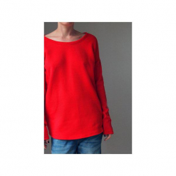 Wąski gruby rękaw czerwony bluza oversize. Czerwone bluzy damskie One mug a day, z bawełny. Za 189.00 zł.